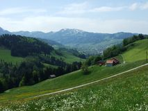 Landbouwbedrijven en weilanden van het Zurchersmuhle-dorp royalty-vrije stock fotografie