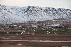 Landbouwbedrijven in Eyjafjordur IJsland royalty-vrije stock foto