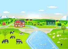 Landbouwbedrijven in landelijk landschap vector illustratie
