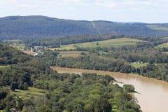 Landbouwbedrijven langs de Susquehanna-Rivier stock foto