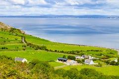 Landbouwbedrijven met koeien en paarden in Burren-maniersleep met de baai van Galway stock fotografie