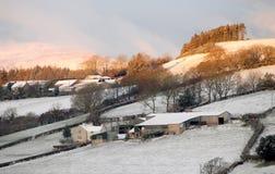 Landbouwbedrijven in sneeuw Royalty-vrije Stock Afbeelding
