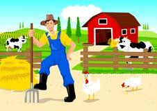 Landbouwer in Beeldverhaal Stock Afbeeldingen
