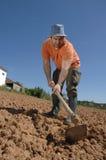 Landbouwer die aan het landbouwbedrijf werkt Royalty-vrije Stock Foto's