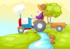 Landbouwer die een auto drijven Stock Afbeeldingen