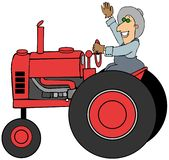 Landbouwer die een oude tractor drijven vector illustratie