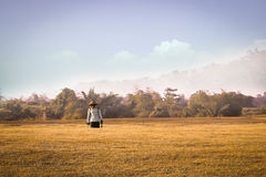 Landbouwer die na het werk op een tarwegebied lopen Royalty-vrije Stock Fotografie