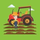 Landbouwer die zich met tractor op achtergrond bevinden royalty-vrije illustratie