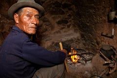 Landbouwer in een Hut, Zuid-Amerika Royalty-vrije Stock Afbeeldingen