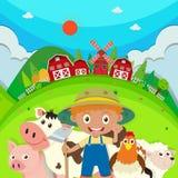 Landbouwer en landbouwbedrijfdieren op het landbouwbedrijf stock illustratie