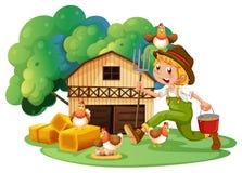 Landbouwer en schuur Royalty-vrije Stock Fotografie
