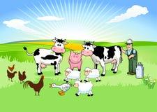 Landbouwer en zijn Dieren Stock Foto's