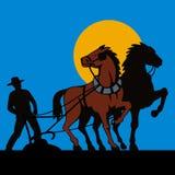 Landbouwer en zijn paarden stock illustratie