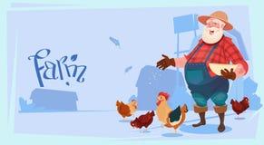Landbouwer Feed Chicken Breeding Hen For Food Farm Vector Illustratie