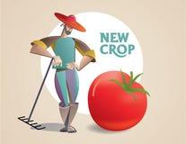 Landbouwer met een nieuw gewas royalty-vrije illustratie