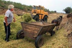 Landbouwer met een paard Royalty-vrije Stock Foto's