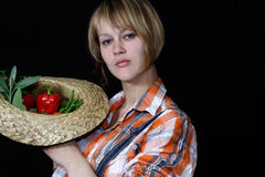Landbouwer met groenten Royalty-vrije Stock Afbeeldingen