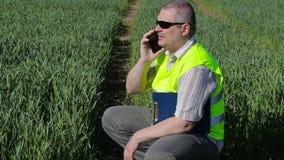 Landbouwer met smartphone en omslag bij het groene graangewassengebied stock video