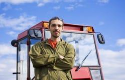 Landbouwer met tracto royalty-vrije stock foto