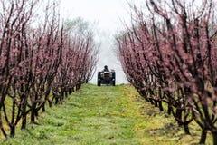 Landbouwer met tractor die een spuitbus van de luchtontploffing gebruiken stock fotografie