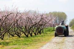 Landbouwer met tractor die een spuitbus van de luchtontploffing gebruiken stock foto's