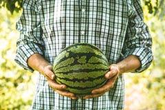 Landbouwer met watermeloen stock foto