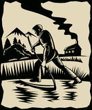 Landbouwer met zeis bij het werklandbouwbedrijf royalty-vrije illustratie