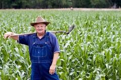 Landbouwer op de graangebieden Royalty-vrije Stock Foto's
