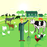 Landbouwer op gebied stock illustratie