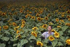 Landbouwer op zonnebloemgebied Royalty-vrije Stock Foto