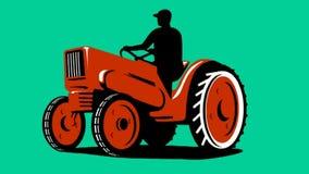 Landbouwer Retro Driving Vintage Tractor stock illustratie