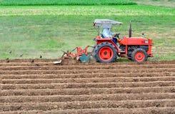 Landbouwer in tractor ploegend land met rode tractor voor landbouw Stock Foto's