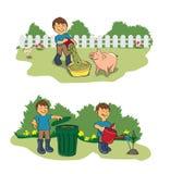 Landbouwer in tuin stock afbeelding