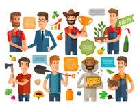 Landbouwer, tuinbouwer of de landbouw geplaatste pictogrammen Vector illustratie royalty-vrije illustratie
