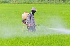 Landbouwers bespuitend pesticide Royalty-vrije Stock Foto's