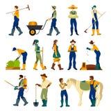 Landbouwers bij Geplaatste het Werk Vlakke Pictogrammen Stock Fotografie