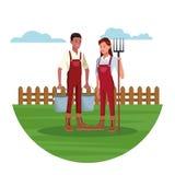 Landbouwers die in landbouwbedrijfbeeldverhalen werken stock illustratie