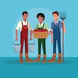 Landbouwers die in landbouwbedrijfbeeldverhalen werken vector illustratie