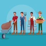Landbouwers die in landbouwbedrijfbeeldverhalen werken royalty-vrije illustratie