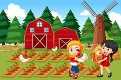 Landbouwers in landbouwbedrijfscène royalty-vrije illustratie