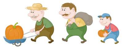 Landbouwers met de oogst van pompoenen royalty-vrije illustratie