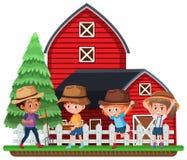Landbouwers voor rode schuur vector illustratie