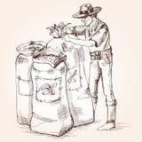 Landbouwersband een zak van koffiebonen Stock Foto