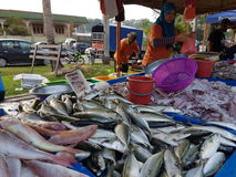 Landbouwersmarkt in Paroi Jaya, Seremban, Negeri Sembilan in Maleisië Stock Foto