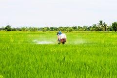 Landbouwerspesticiden op de gebieden Royalty-vrije Stock Foto