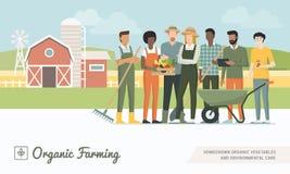 Landbouwersteam die samenwerken royalty-vrije illustratie