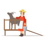 Landbouwersvrouw die haar geit, de landbouw en landbouw vectorillustratie melken stock illustratie