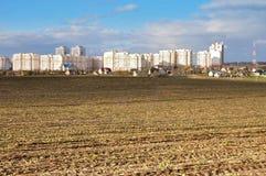 Landbouwgebied na oogst Stock Foto