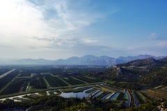 Landbouwgebieden in Kroatië stock afbeeldingen