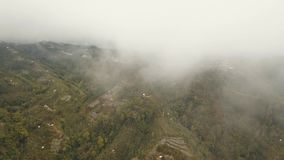 Landbouwgrond in de bergen in mist en wolken Bali, Indonesië stock videobeelden